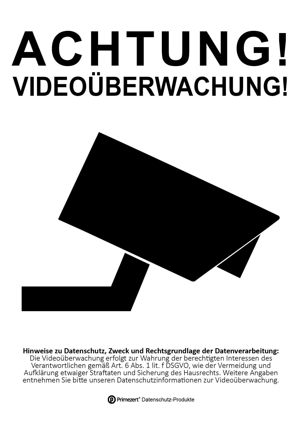 Datenschutz Aufkleber Video ü Vorgelagert Din A6 Transparent