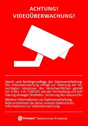 """DSGVO Aufkleber """"Achtung Videoüberwachung"""" DIN A8"""