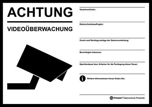 Hinweis-Aufkleber Video-Überwachung Haftfolie, DIN A5, transparent | beschriftbar