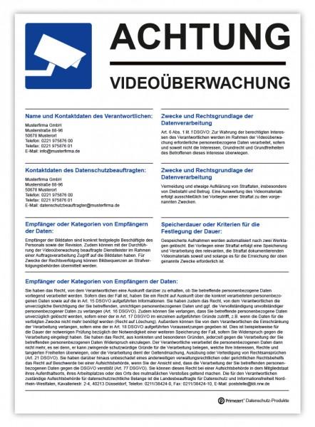 Datenschutz-Aufkleber Video-Ü. Aushang DIN A4 individualisiert