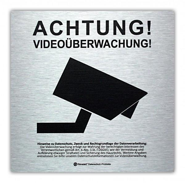 Datenschutz-Schild Video-Ü. vorgelagert 15x15cm Alu-dibond