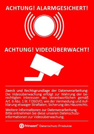 """DSGVO Aufkleber """"Achtung alarmgesichert videoüberwacht"""" DIN A8"""