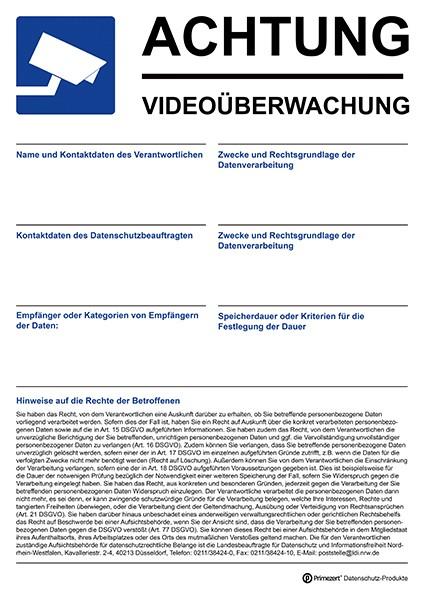 Datenschutz-Aufkleber Video-Ü. Aushang DIN A4 beschriftbar