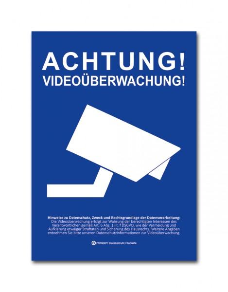Datenschutz-Aufkleber Video-Ü. vorgelagert DIN A6 blau-weiß