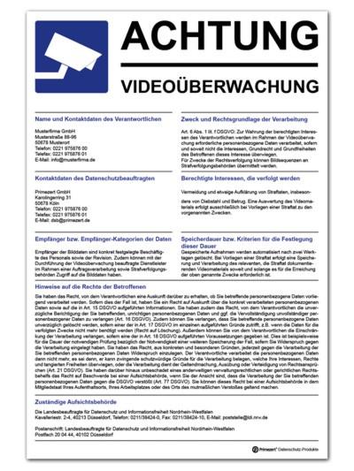 Datenschutz-Schild Video-Ü. Aushang 30x20cm individualisiert PVC