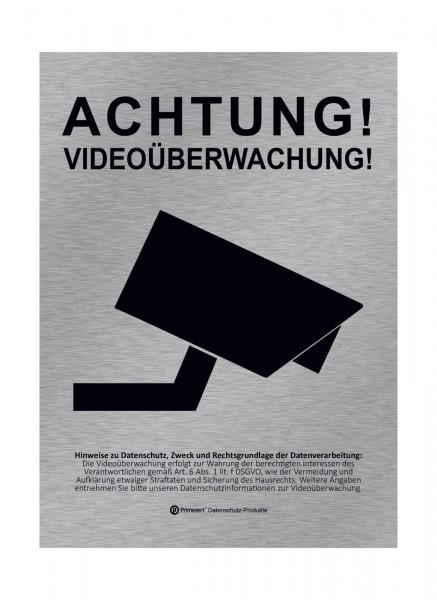 Datenschutz-Aufkleber Video-Ü. vorgelagert DIN A6 Alu-Design