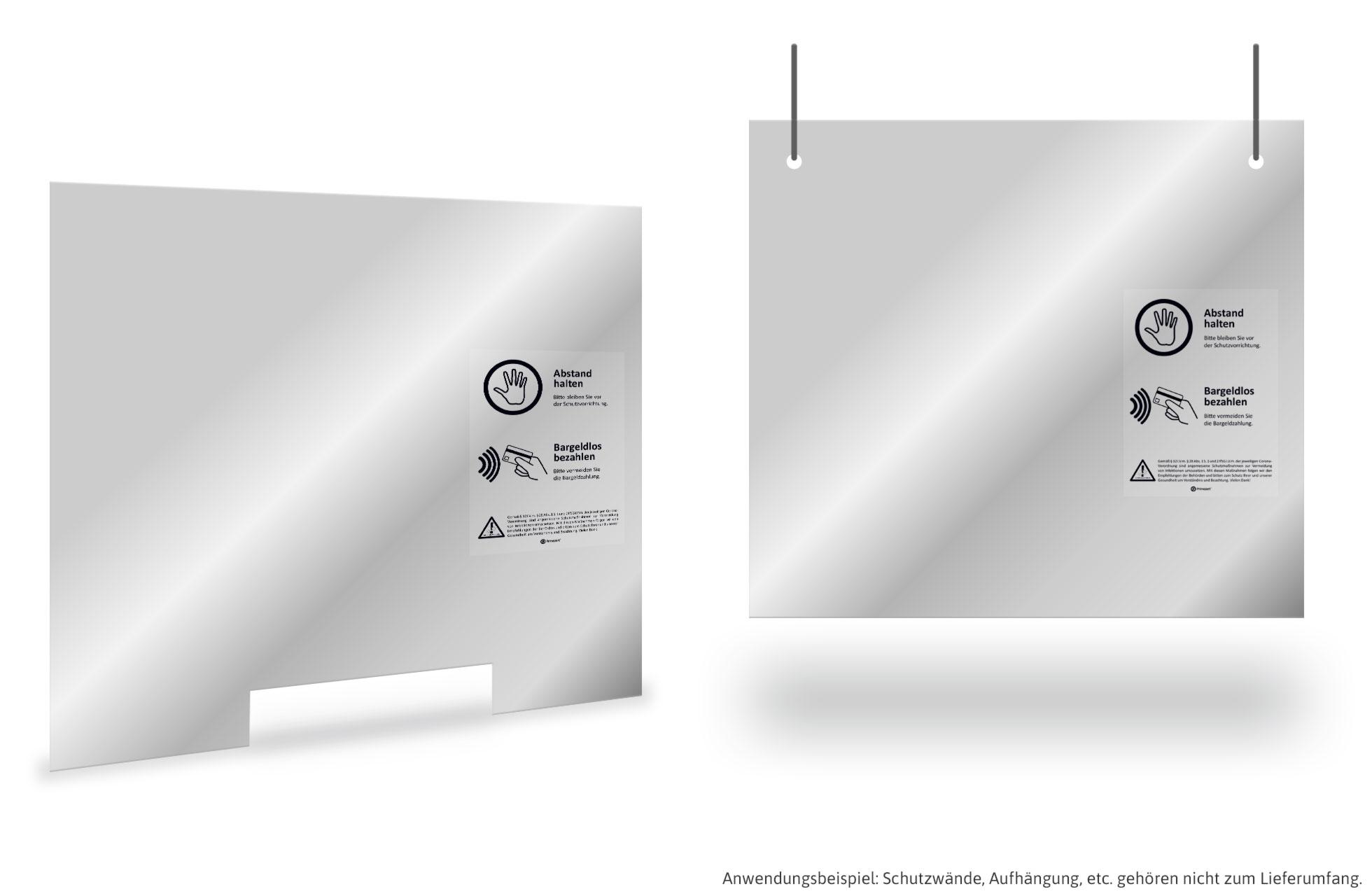 transparent für Theken u Corona: INFEKTIONS-Schutz Aufsteller Tresen