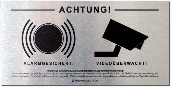 Datenschutz-Schild Video-Ü. + Alarm vorgelagert 10x20cm Alu-dibond