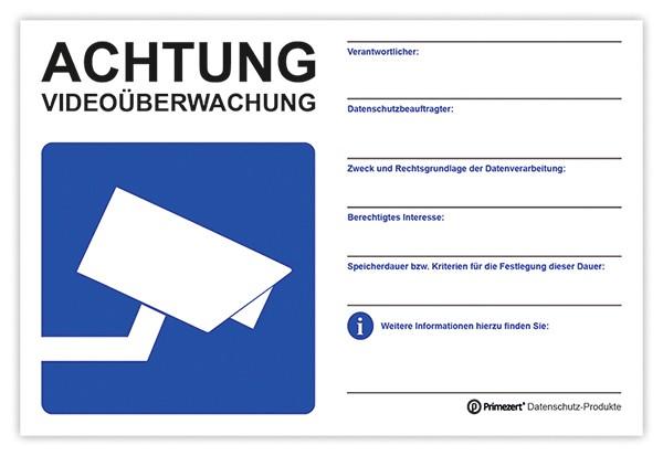 Hinweis-Schild Video-Überwachung PVC, 20x30cm | beschriftbar