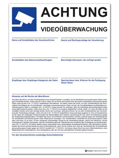 Datenschutz-Schild Video-Ü. Aushang 30x20cm beschriftbar PVC