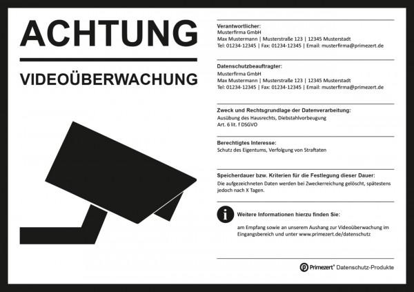 Hinweis-Aufkleber Video-Überwachung Haftfolie, DIN A5, transparent | individualisiert