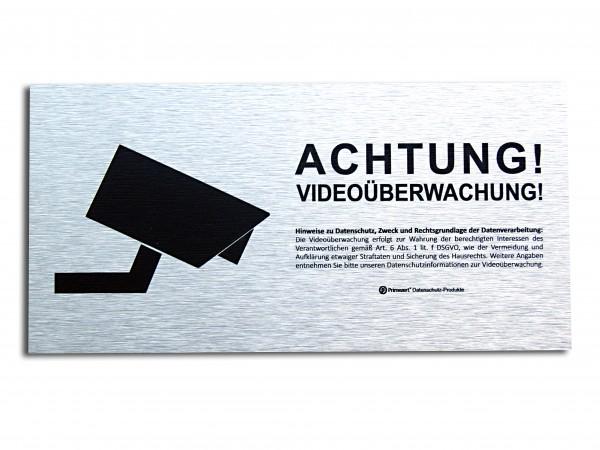 Datenschutz-Schild Video-Ü. vorgelagert 10x20cm Alu-dibond